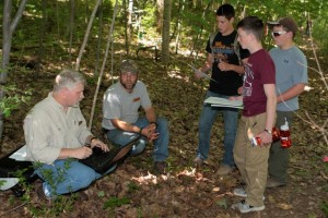 Bucktails students in the field learning about deer population assessment.
