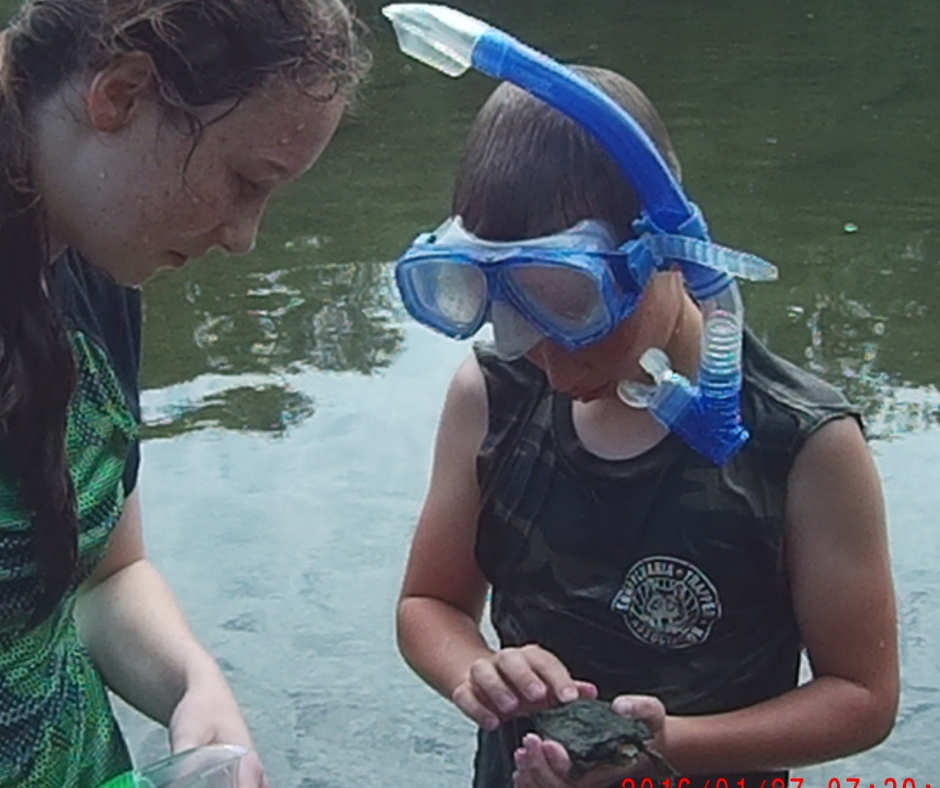 A girl and boy wearing snorkeling masks, the boy holds a turtle
