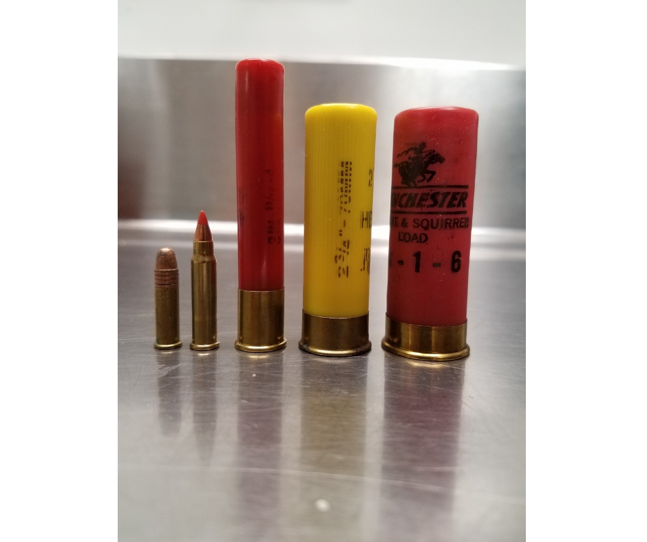 Gun cartridges, yellow and red, all lined up in a row. Two small bronze ones are on the end.