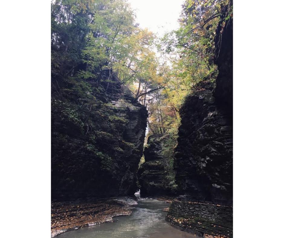Big Waterfall cutting through rocks and woods