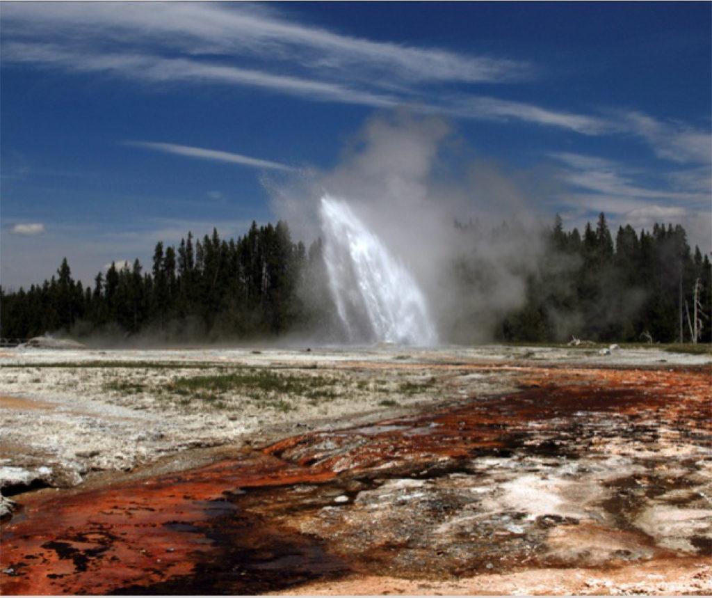 A red geyser errupting