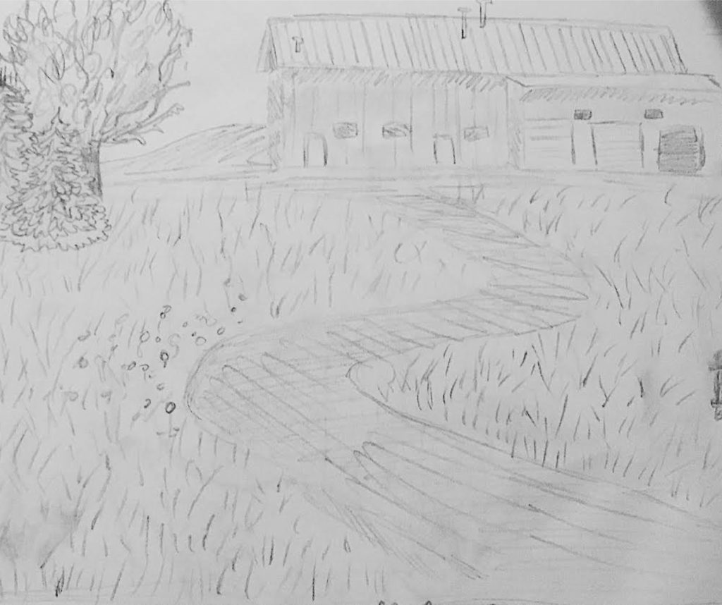 A sketch drawn lightly in pencil. It shows a house, a road, and some trees in the distance.